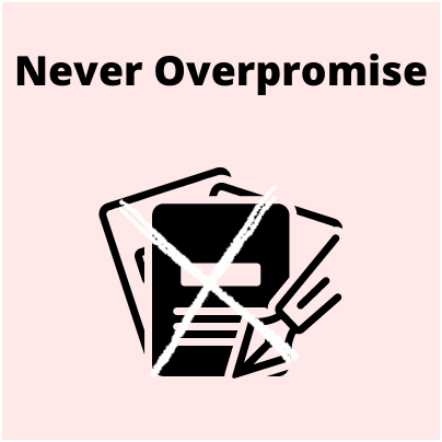 Never Overpromises the results